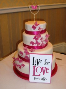 Pink butterfly themed cake